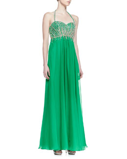Faviana Beaded Bodice Halter Gown, Green Envy