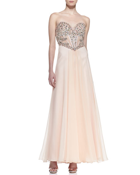Strapless Beaded & Sequined Bodice Gown, Blush