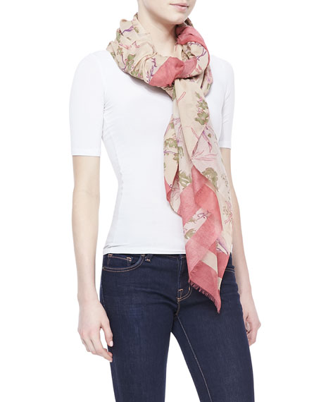 Printed Cotton/Silk Scarf, Rose Quartz