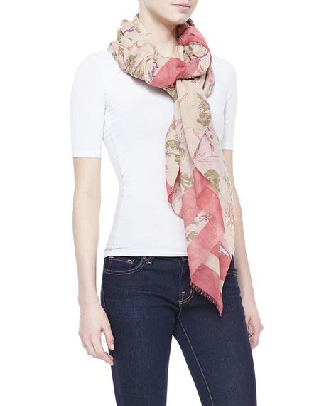 Printed Cotton/Silk Scarf, Rose Quartz