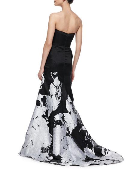 Strapless Floral-Hem Gown, Black/White