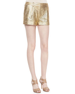 Diane von Furstenberg Naples Laser Cut Leather Shorts, Gold/Nude