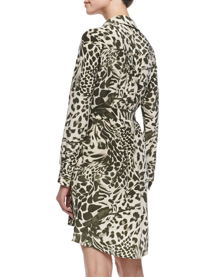 Prita Feathered Leopard Shirtdress with Tie Belt, Celadon