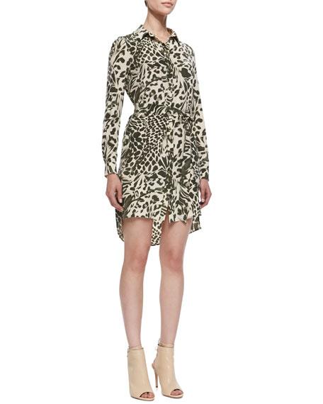 Prita Feathered Leopard Shirtdress with Tie Belt, Celadon