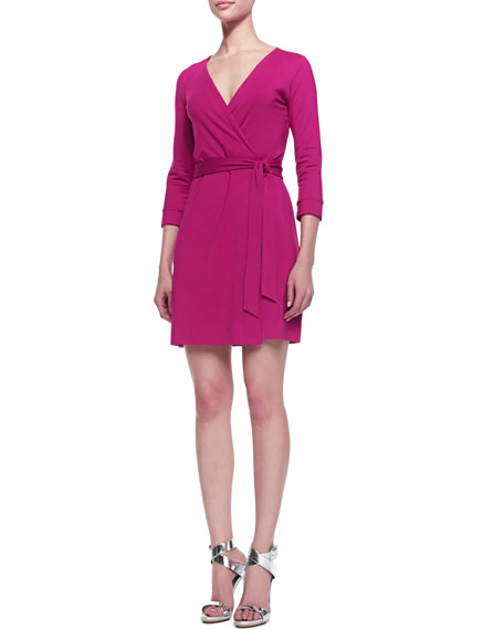 New Julian Two Mini Wrap Dress, Pink Dahlia