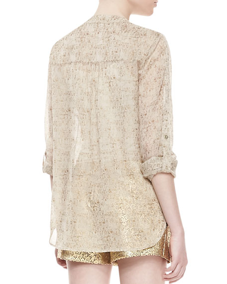 Danielle Runway Long-Sleeve Flap Pocket Top, Cork Foil