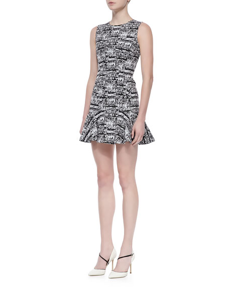 Jaelyn Sleeveless Flutter Dress, Black/White