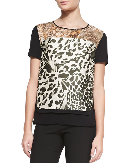 Becky Printed Short-Sleeve Top