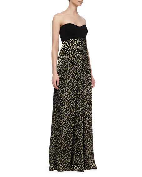 Adriana Strapless Silk Leopard-Print Maxi Dress
