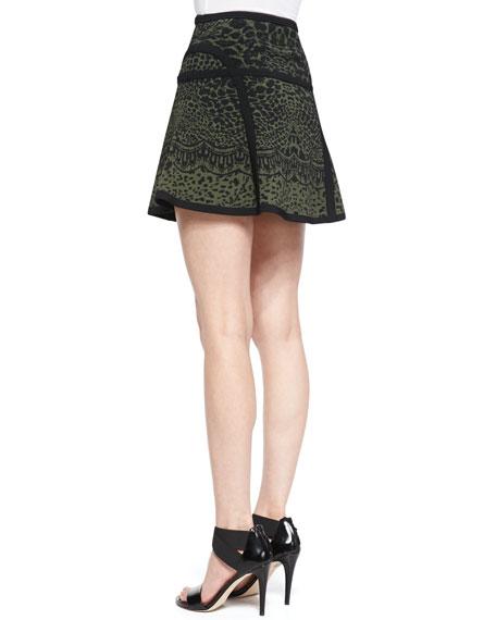 Float-Flowy Leopard-Print Miniskirt, Olive Green Nite/Black