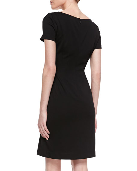 Short Sleeve Baroque Front Dress, Black/White