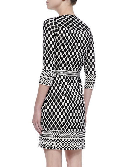 Tallulah Long Sleeve Woven Print Wrap Dress, Black/White