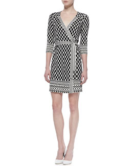 Diane von Furstenberg Tallulah Long Sleeve Woven Print Wrap Dress, Black/White