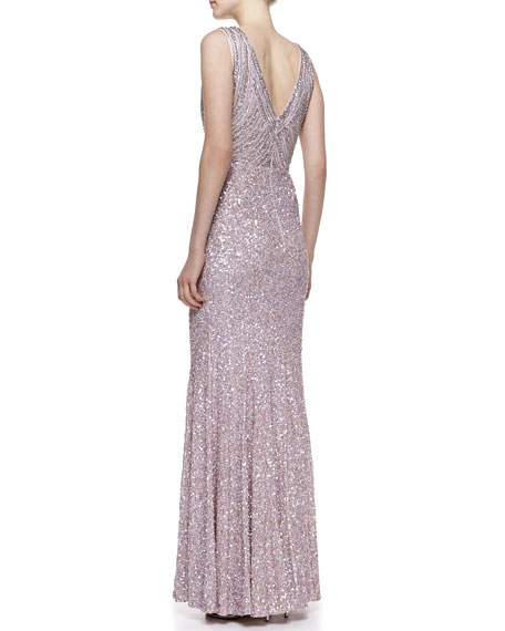 Sleeveless Sequined Mermaid Gown, Lavender