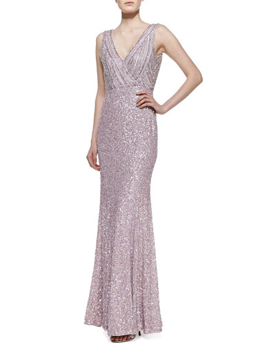 Rachel Gilbert Sleeveless Sequined Mermaid Gown, Lavender