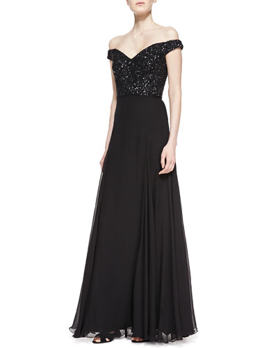 Rachel Gilbert Off-the-Shoulder Sequin-Bodice Silk Gown