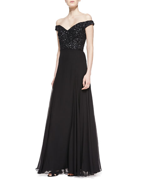 Off-the-Shoulder Sequin-Bodice Silk Gown
