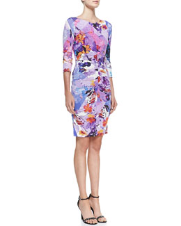 Nicole Miller Jersey Floral-Print Scoop-Neck Dress