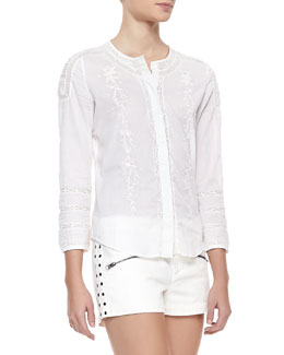 Pam & Gela Embroidered Lacey Voile Blouse