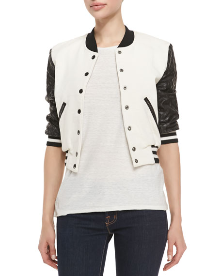 Letterman Style Jacket w/ Quilted Sleeves, Cream/Black