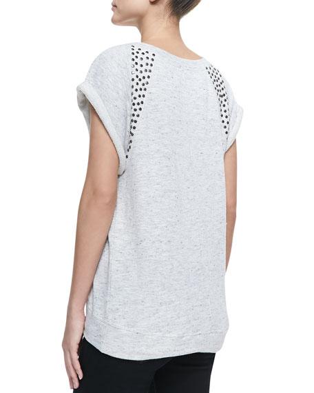 Stud-Shoulder Short-Sleeve Sweatshirt