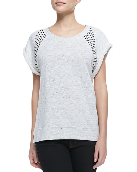 Stud-Shoulder Short-Sleeve Sweatshirt