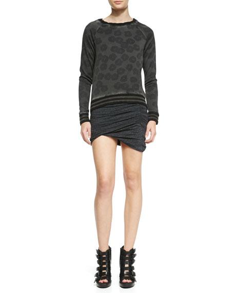 Ruched Slub Asymmetric Miniskirt
