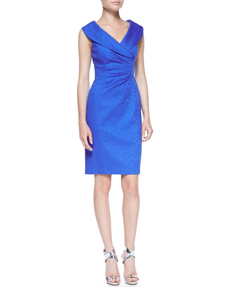 Sleeveless Shawl Collar Printed Dress