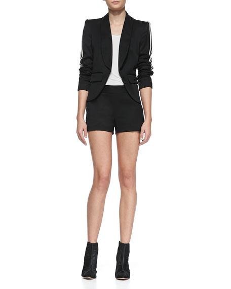 Striped-Side Stretch-Wool Shorts