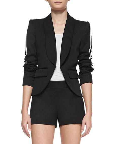Striped-Sleeve Crepe Blazer