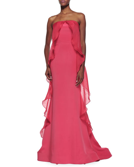 Strapless Grown with Ruffled Flounce Overlay