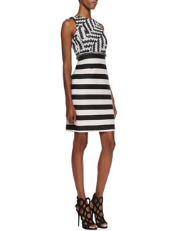 Christian Siriano Sleeveless Striped Sheath Dress