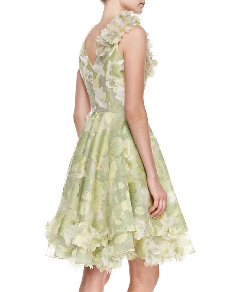 Sleeveless Floral Cocktail Dress, Pear