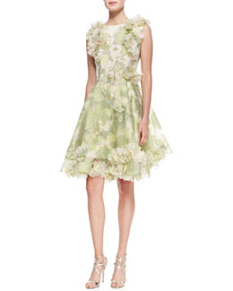 Christian Siriano Sleeveless Floral Cocktail Dress, Pear