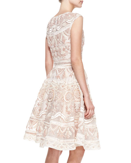 French Knot Raffia Dress, Blush