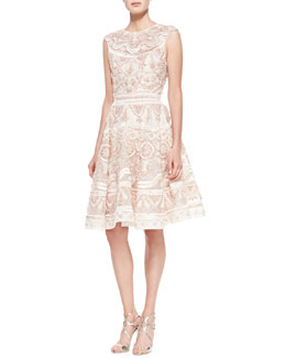Christian Siriano French Knot Raffia Dress, Blush