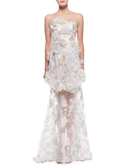 Christian Siriano Strapless Petal Appliqué Trumpet Gown, Silver