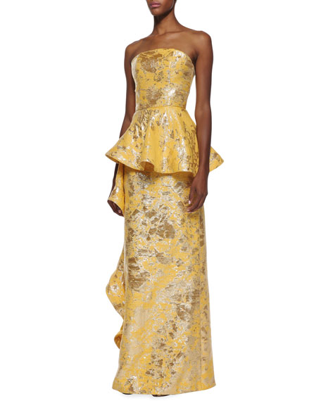 Strapless Side-Flounce Brocade Gown