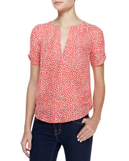 Joie Amone Heart-Print Short-Sleeve Blouse