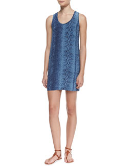 Joie Peri B. Silk Snake-Print Scoop-Neck Dress