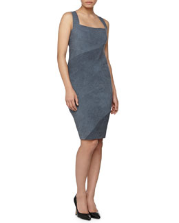 Donna Karan Spiral-Seamed Cross-Back Sheath Dress