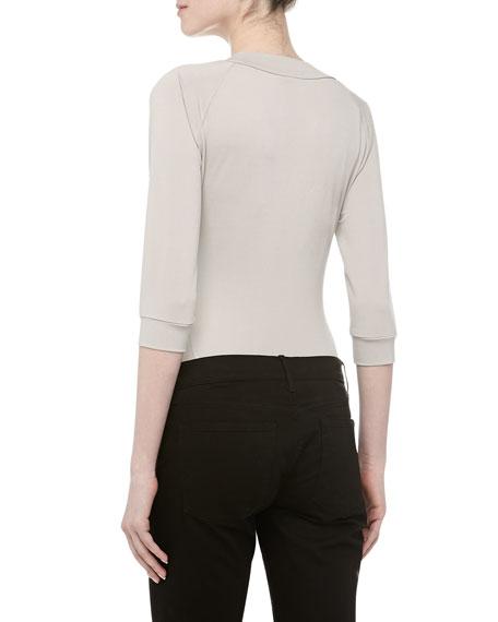 Three-Quarter-Sleeve Scoop Neck Bodysuit, Oyster