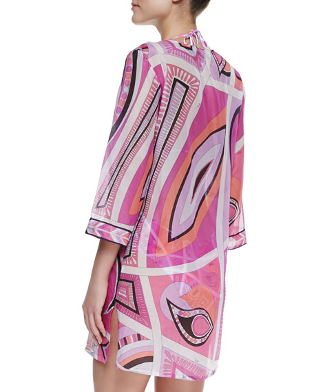 Lace-up Front Taitu-Print Coverup Tunic, Fuchsia