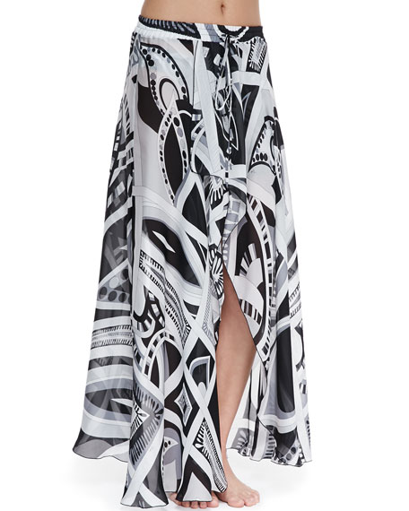 Taitu-Print Silk Coverup Skirt