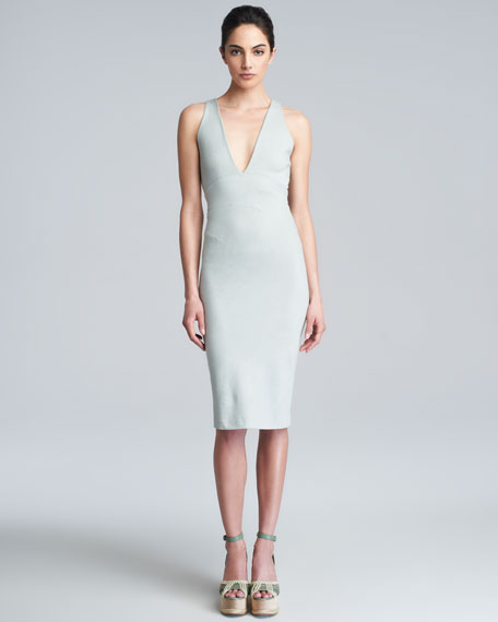 Deep V-Neck Knit Dress, Waterlily