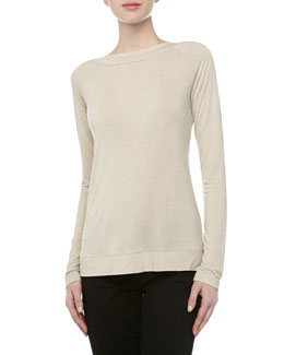 Donna Karan Boat-Neck Crisscross Jersey Top, Natural