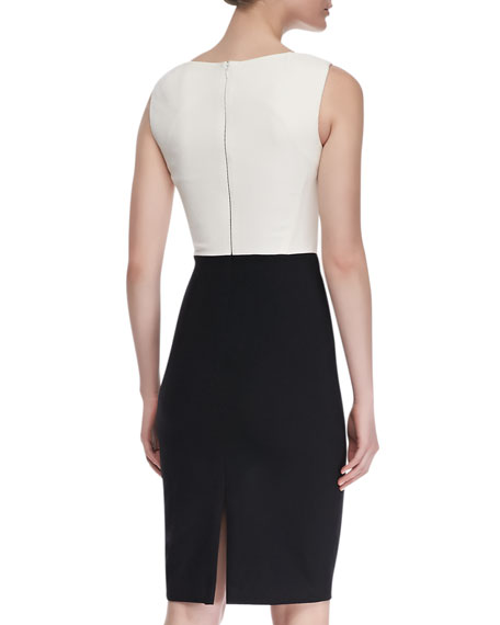 Colly Sleeveless Contrast Cocktail Dress, Black/White