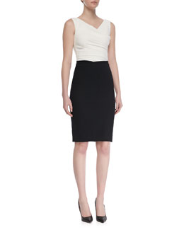 Talbot Runhof Colly Sleeveless Contrast Cocktail Dress, Black/White
