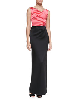 Talbot Runhof Colly Sleeveless Ruched Two-Tone Gown