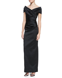 Talbot Runhof Off-the-Shoulder Ruched Gown, Black